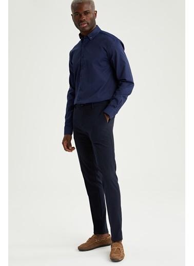 DeFacto Modern Fit Uzun Kollu Basic Gömlek Mavi